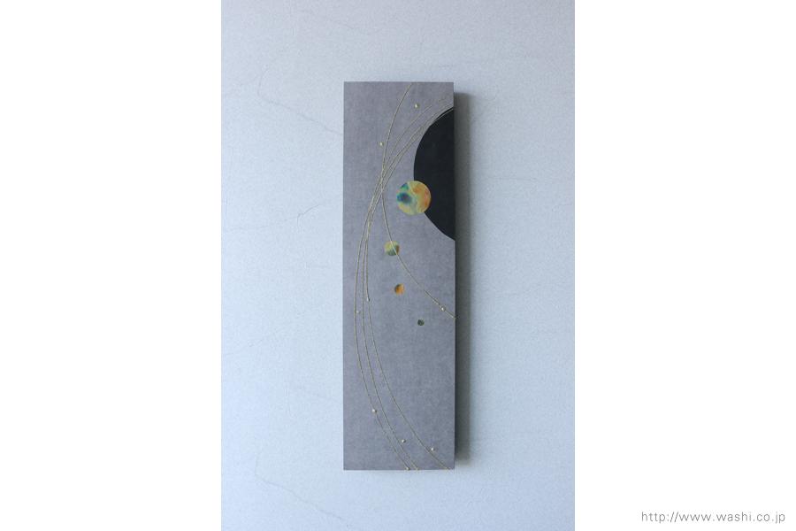 玄関ホール用の創作和紙インテリアアートパネル(正面)