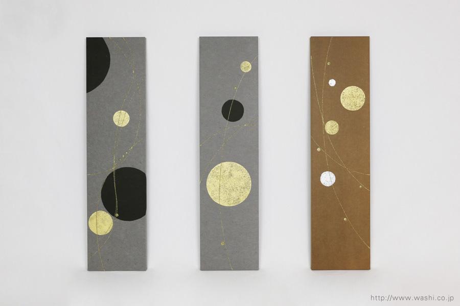 ベンガラ・漆染め和紙を使用した、結納水引リメイクパネル(大阪府)水引無し、正面