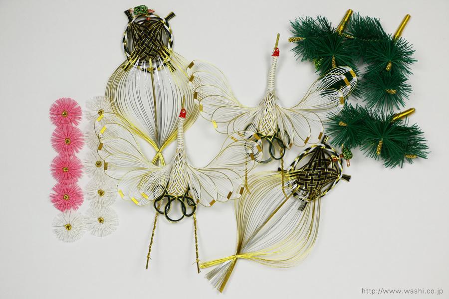 ベンガラ・漆染め和紙を使用した、結納水引リメイクパネル(大阪府)水引飾りパーツ