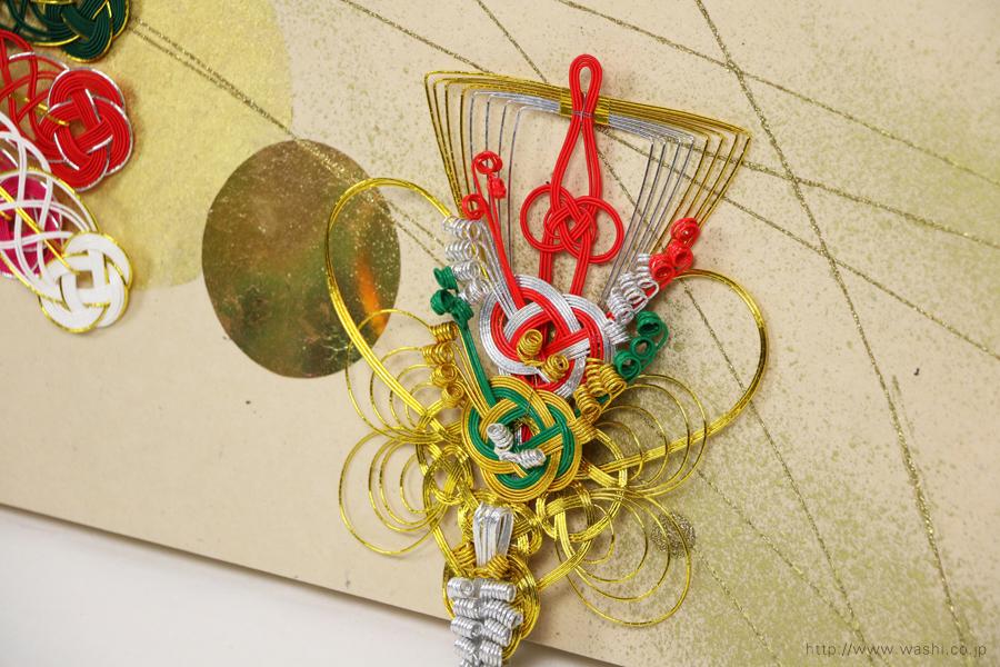 結婚披露宴の高砂メインテーブル装飾としても使われた結納水引リメイクパネル(東京都M様)宝船の水引飾りアップ