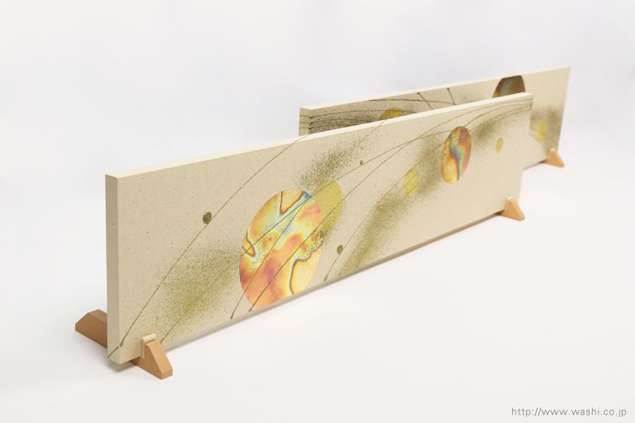 結婚披露宴の高砂メインテーブル装飾としても使われた結納水引リメイクパネル(東京都M様)立掛け設置時