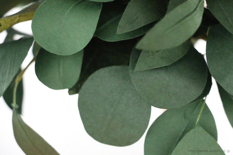 葉ものをたっぷり使ったナチュラルテイストの和紙ブーケ・花束(紙婚式ペーパーフラワー)葉アップ