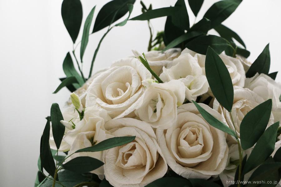 葉ものをたっぷり使ったナチュラルテイストの和紙ブーケ・花束(紙婚式ペーパーフラワー)花部アップ