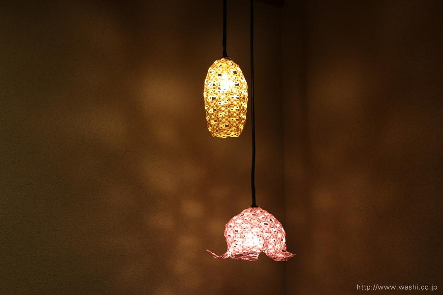 温泉旅館に設置した加賀水引ペンダントライト・灯り(2種類)
