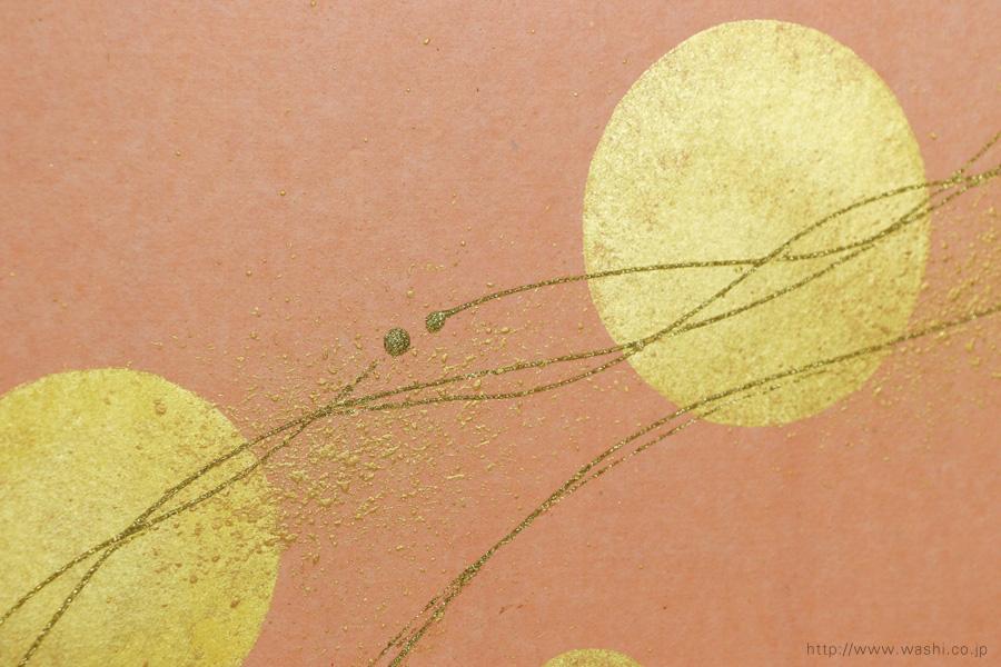 ベンガラ手漉和紙の角サイズ結納水引リメイクパネル(大阪府)淡いピンク、デザインアップ