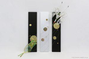玄関インテリアの結納品リメイク3連パネル(大阪府)鶴亀水引取付時