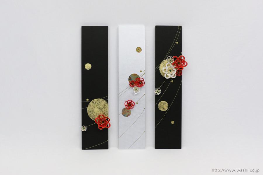 玄関インテリアの結納品リメイク3連パネル(大阪府)梅水引飾り取付時