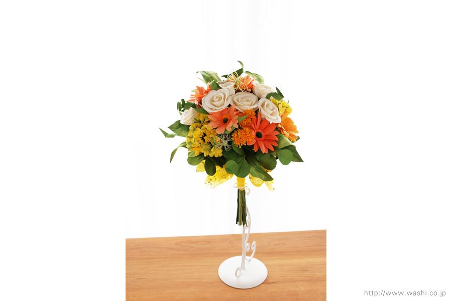 ガーベラ、菜の花、タンポポのビタミンカラー和紙ブーケ・花束(退職祝いのペーパーフラワー)正面