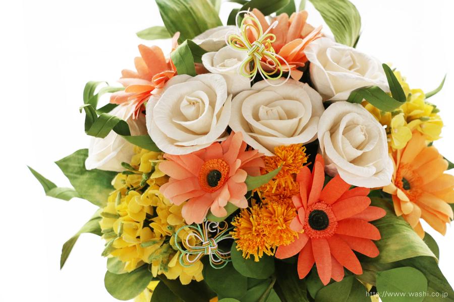 ガーベラ、菜の花、タンポポのビタミンカラー和紙ブーケ・花束(退職祝いのペーパーフラワー)アップ