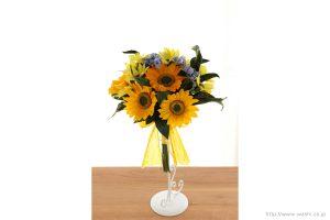 向日葵(ひまわり)と小花の和紙の花束・ブーケ(紙婚式ペーパーフラワーブーケ)正面