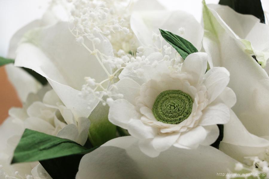 結婚記念日ペーパーフラワー|白いカラーとガーベラの和紙製ブーケ・花束(ガーベラアップ)