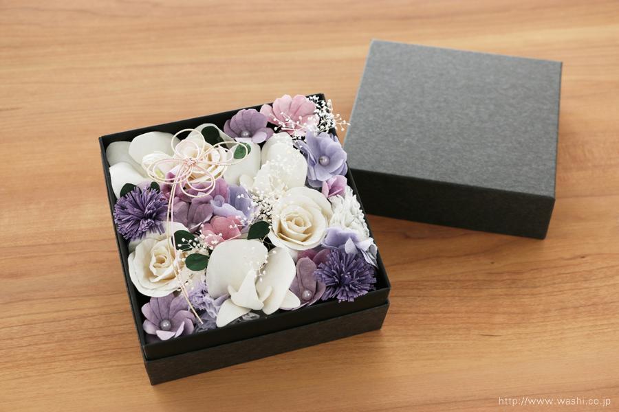 和紙の花のBOXアレンジメント(ご祖母様へのオーダーメイド誕生日プレゼント)