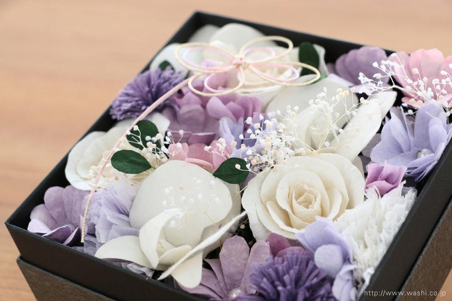 和紙の花のBOXアレンジメント(ご祖母様へのオーダーメイド誕生日プレゼント)アップ