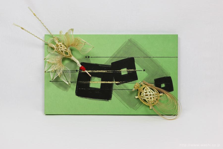 結納品リメイク|落ち着いたグリーン色が目を惹くアートボード(正面)