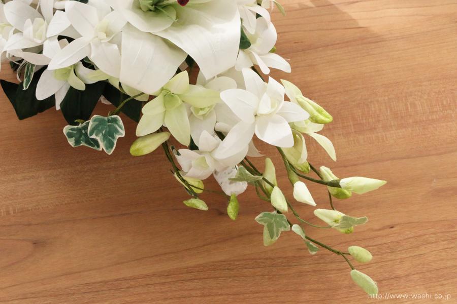 紙婚式・結婚記念日ペーパーフラワー|カサブランカとデンファレの和紙製ブーケ・花束(つぼみアップ)