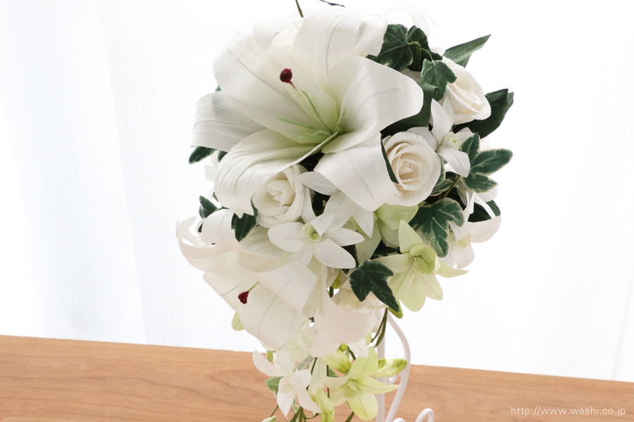紙婚式・結婚記念日ペーパーフラワー|カサブランカとデンファレの和紙製ブーケ・花束(お花アップ)