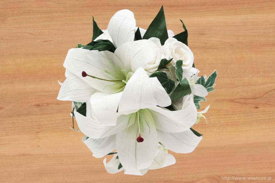 紙婚式・結婚記念日ペーパーフラワー|カサブランカとデンファレの和紙製ブーケ・花束(上面)