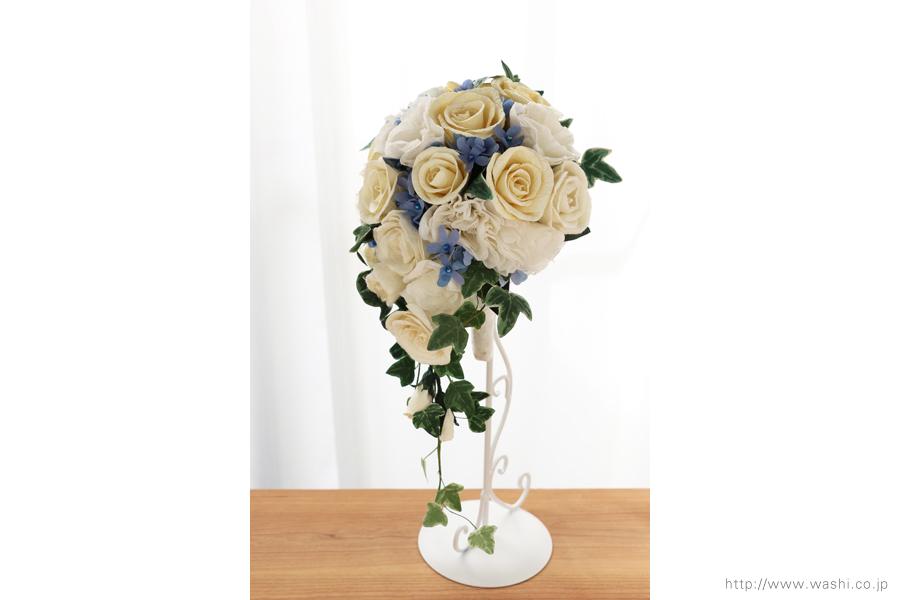 紙婚式ペーパーフラワー|トルコ桔梗とアイビーの和紙ブーケ・花束(真横)