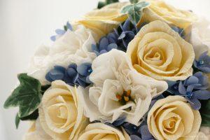 紙婚式ペーパーフラワー|トルコ桔梗とアイビーの和紙ブーケ・花束(アップ)