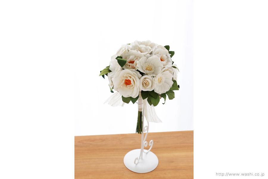 紙婚式ペーパーフラワー|ガーベラとフレンチマリアンヌの和紙花ブーケ