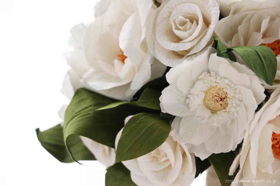 紙婚式ペーパーフラワー|ガーベラとフレンチマリアンヌの和紙花ブーケ(アップ)