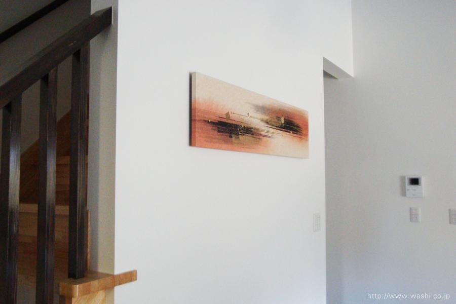 墨・顔料デザイン和紙アートパネル JAPANESE PAPER ART PANEL For living room /SUMI(墨)設置後