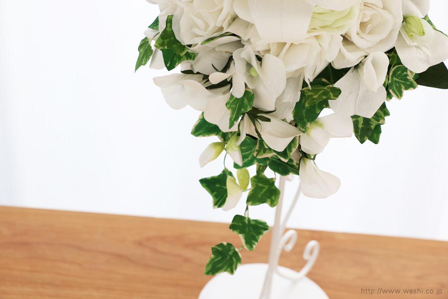 紙婚式ペーパーフラワー|結婚式の再現ブーケ・カサブランカとサマースイートピーの和紙の花束(アイビー)