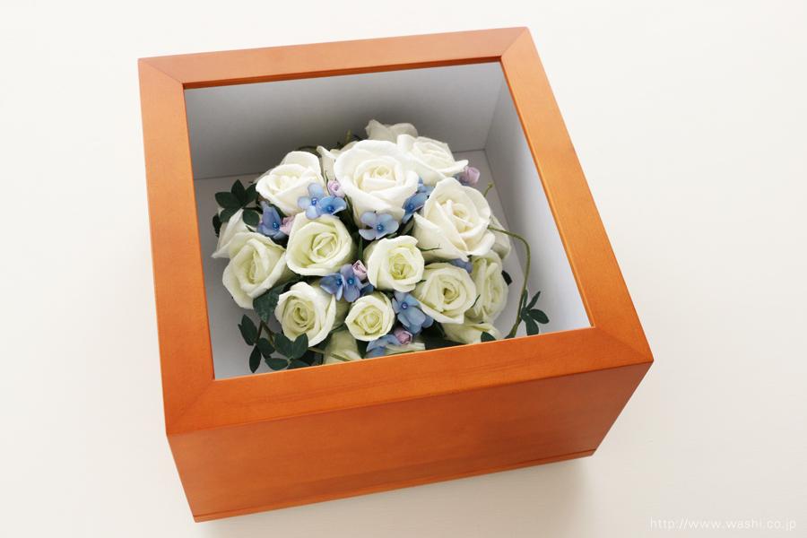和紙の花 アフターブーケ|和紙製ペーパーフラワーで、痛んだ結婚式のプリザーブドフラワーを元の美しい姿に再現。3Dフレーム・立体額