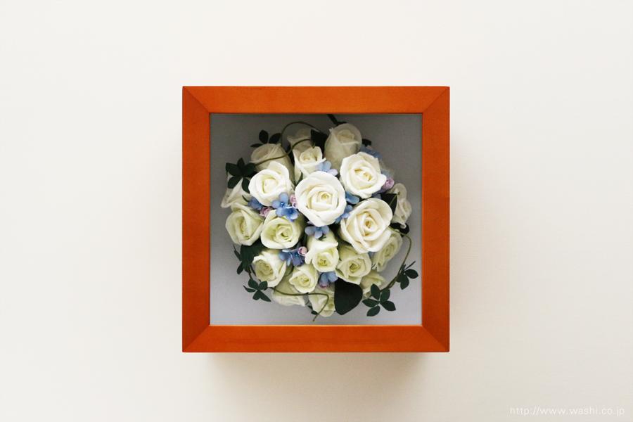 和紙の花 アフターブーケ|和紙製ペーパーフラワーで、痛んだ結婚式のプリザーブドフラワーを元の美しい姿に再現。3Dフレーム・立体額(正面)