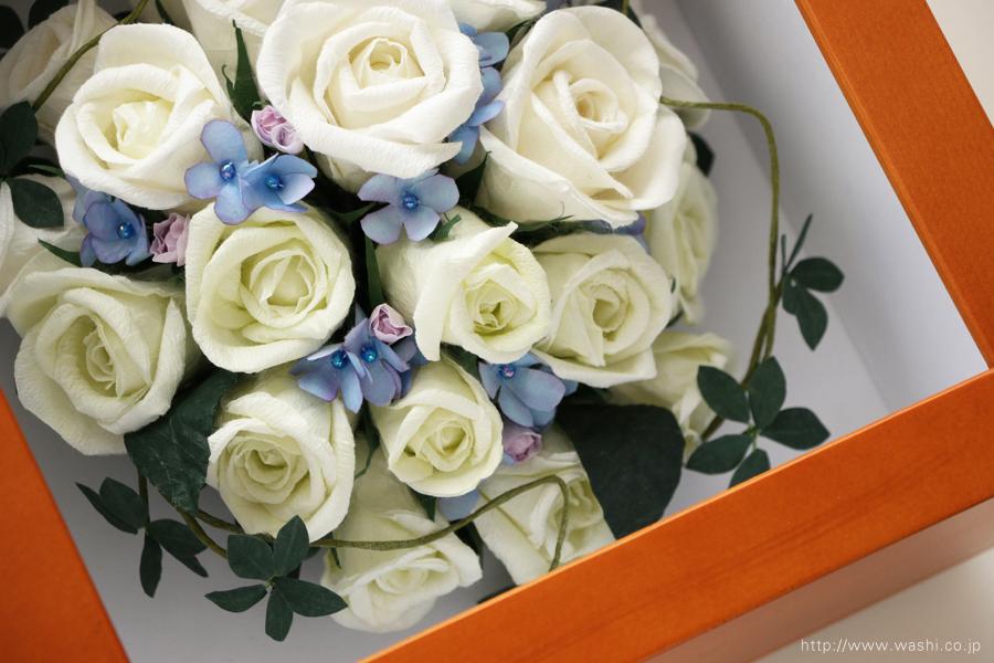 和紙の花 アフターブーケ|和紙製ペーパーフラワーで、痛んだ結婚式のプリザーブドフラワーを元の美しい姿に再現。3Dフレーム・立体額(繊細な色表現)