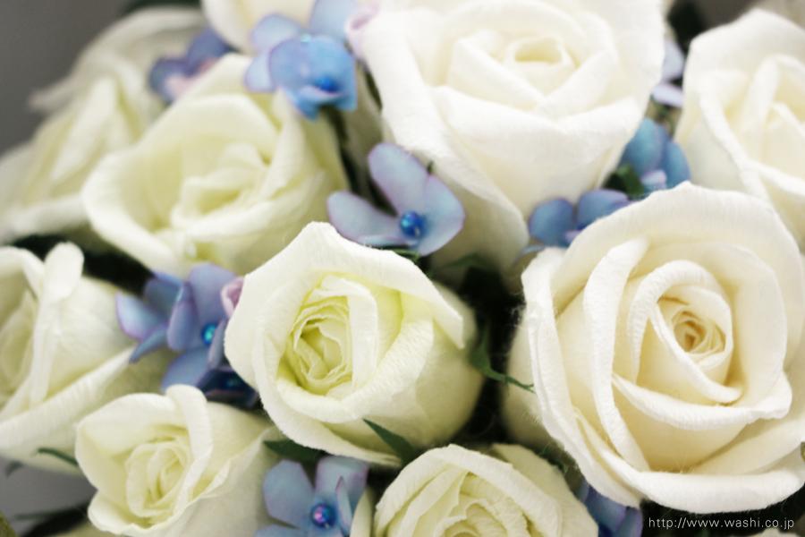 和紙の花 アフターブーケ|和紙製ペーパーフラワーで、痛んだ結婚式のプリザーブドフラワーを元の美しい姿に再現。3Dフレーム・立体額(花部アップ)