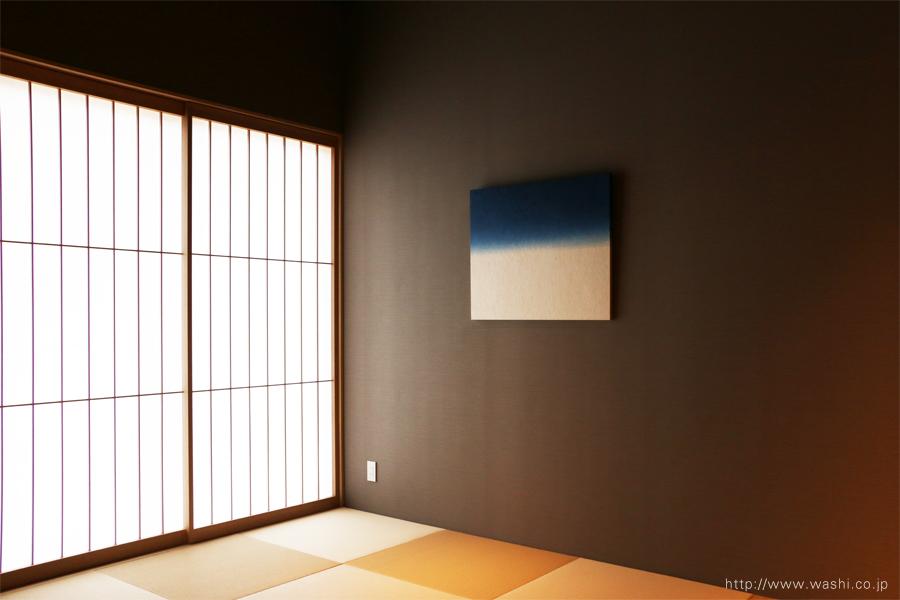 町屋旅館インテリアの和紙アートパネル 室内装飾- Wabi-Sabi Washi wall Art Panel(グラデーション、斜めから)