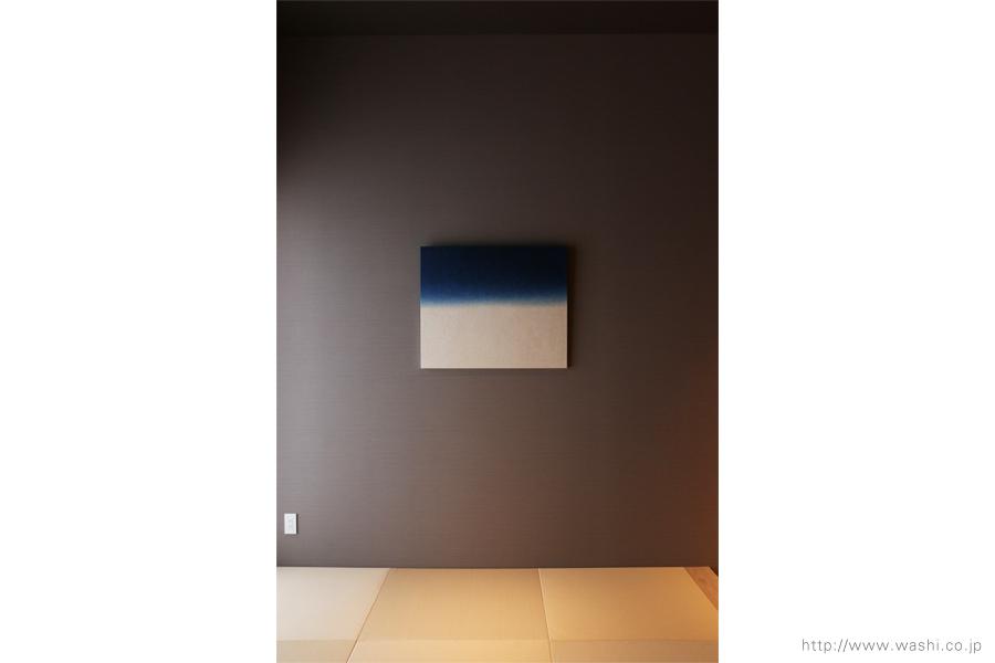 町屋旅館インテリアの和紙アートパネル 室内装飾- Wabi-Sabi Washi wall Art Panel(グラデーション、正面から)