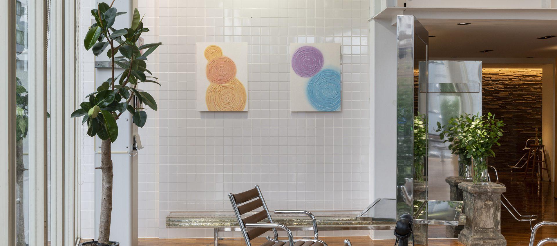 「波紋」和紙インテリアアートパネル(大サイズ画像)ヘアサロン