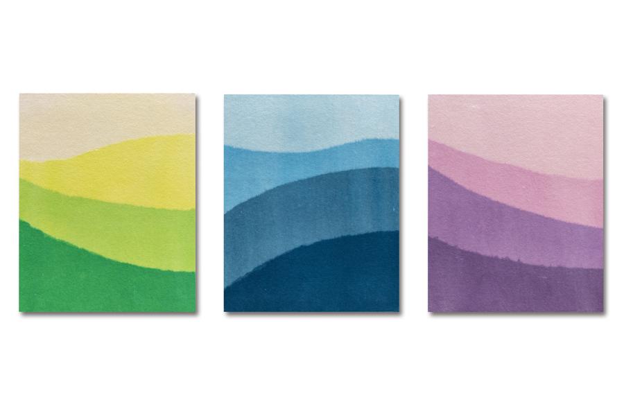 ホスピタルアート03 <br />重なる和紙に景色を見立てる