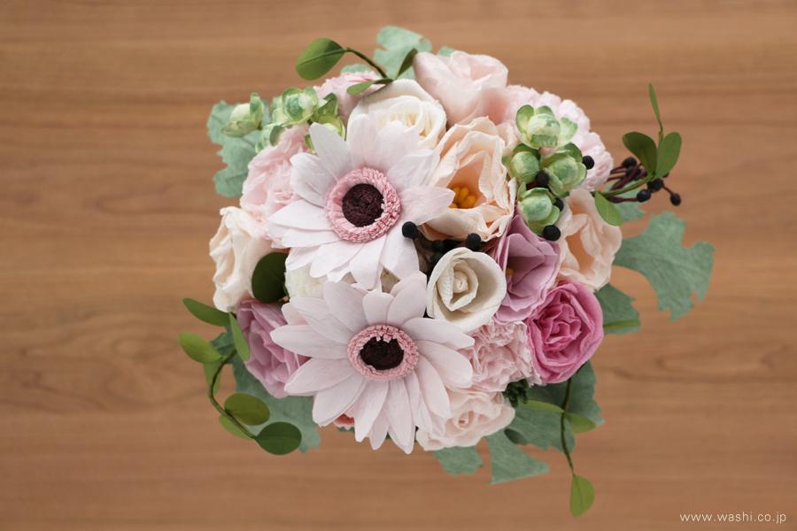 和紙の花ペーパーフラワーブーケ・花束|特別な記念日の贈り物に(真上)