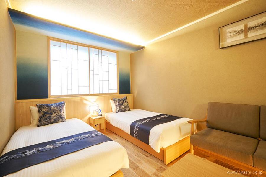 オーダーメイド和紙壁紙・アクセントクロス(ホテル・染色)ベットルーム