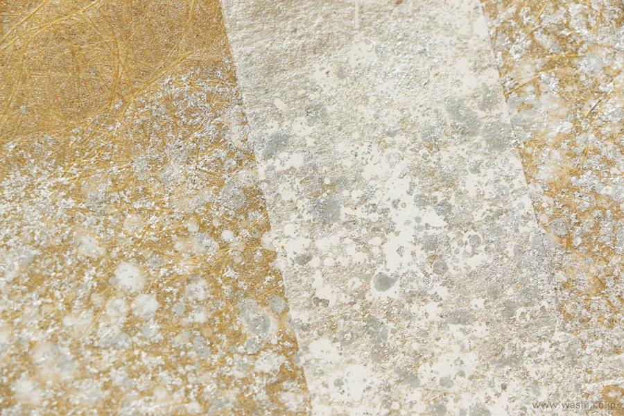 オーダーメイド和紙壁紙・アクセントクロス(ホテル・金銀箔)銀部分デザインアップ