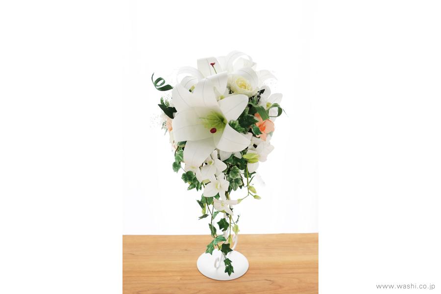 和紙の花ブライダルウェディングブーケ|結婚式用のカサブランカとデンファレのペーパーフラワー
