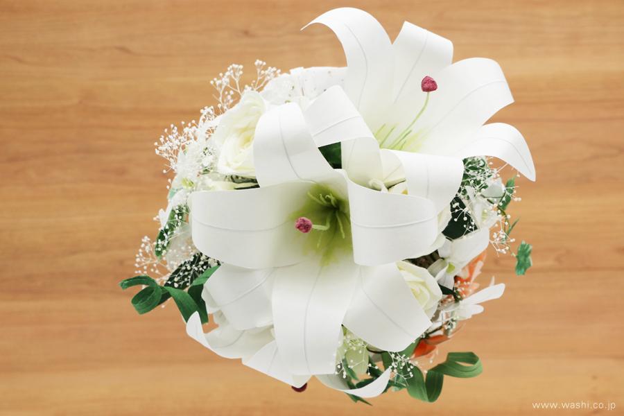 和紙の花ブライダルウェディングブーケ|結婚式用のカサブランカとデンファレのペーパーフラワー(真上)