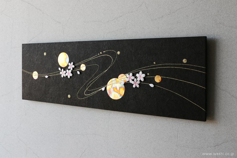 季節にあわせてモチーフを付け替えることが出来る和紙アートパネル(春・桜)