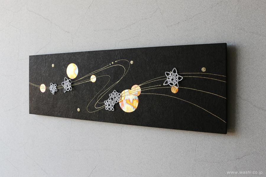 季節にあわせてモチーフを付け替えることが出来る和紙アートパネル(冬・雪の結晶)
