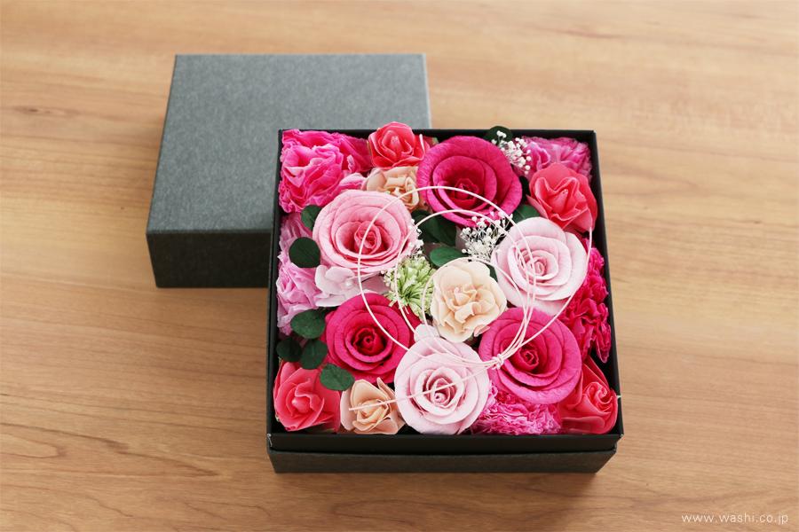 和紙の花のフラワーボックス(昇進祝いのオーダーメイドプレゼント)正面