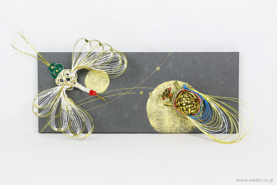 ちりめん玉飾りと鶴亀の結納品リメイクアートパネル(鶴亀水引取付け)