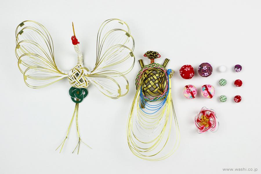 ちりめん玉飾りと鶴亀の結納品リメイクアートパネル(水引飾り)