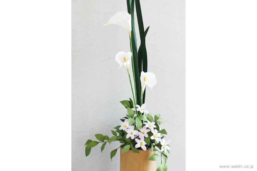 一般住宅の床の間 和紙の花の生け込み・装花インテリアフラワー(4)