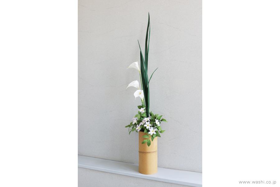 一般住宅の床の間 和紙の花の生け込み・装花インテリアフラワー(5)
