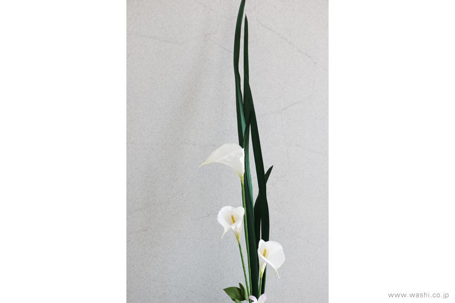 一般住宅の床の間 和紙の花の生け込み・装花インテリアフラワー(6)