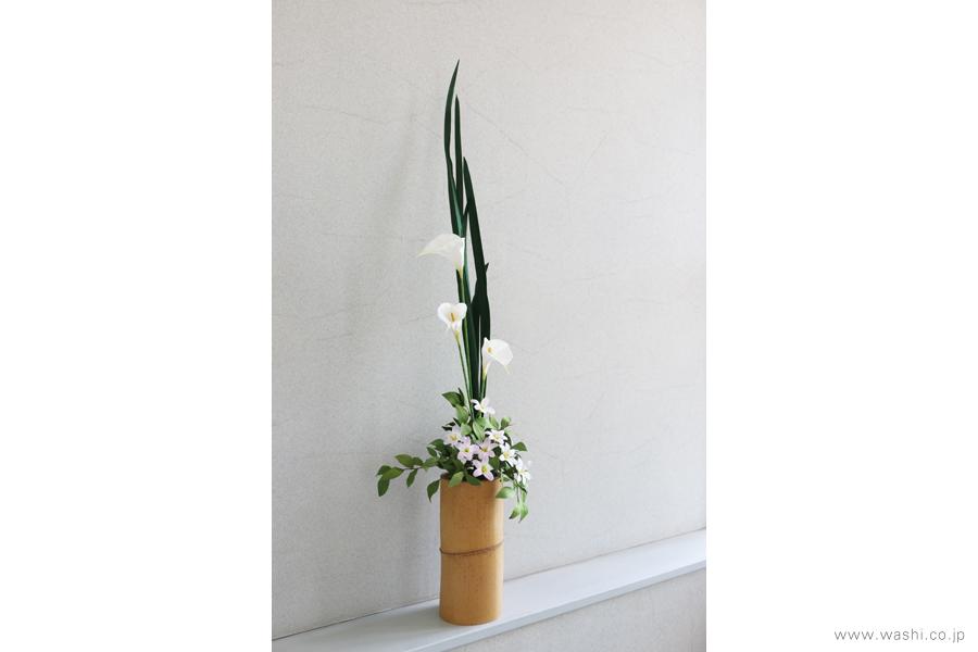 一般住宅の床の間 和紙の花の生け込み・装花インテリアフラワー(7)