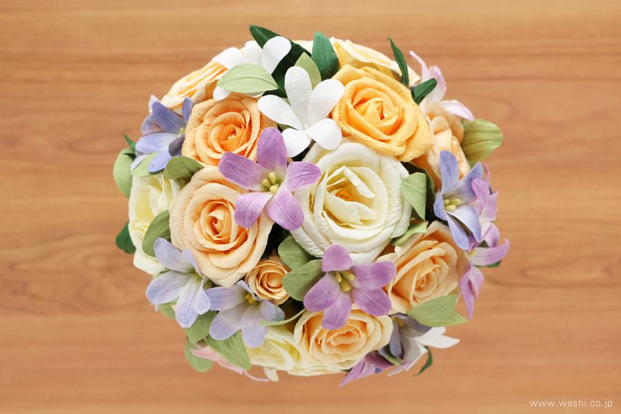 結婚記念日・紙婚式 パステルカラーの和紙花オーダーメイドプレゼント(真上)